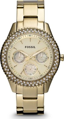 Fossil 'Stella' Crystal Bezel Bracelet Watch, 37mm Gold 54198