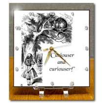 3dRose dc_193785_1 Curiouser and Curiouser Alicein Wonderland Lewis Carroll Quote Desk Clock, 6 by 6-Inch
