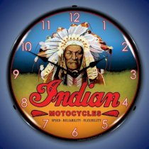 Indian Motorcycle Chief Brand New Backlit Lighted Clock Garage Office