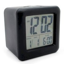 JCC Automatic Night Glow Smart Night-activated Sensor Silicone Protective Cover Digital Silent LCD Large Screen Desk Bedside Alarm Clock with Date and Temperature Display Snooze Function (Black)