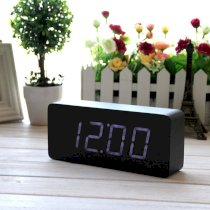 EiioX Wood Grain Clock LED desk alarm clock Time Temperature Date - Sound Control - Latest Generation(Black Skin White LED Light)