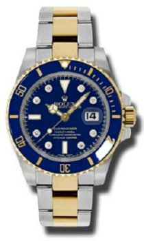 Đồng hồ Rolex Submariner Blue Diamond Dial 18k Yellow Gold Two Tone Mens Watch