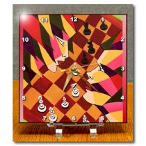 3dRose dc_54896_1 Anybody As Chess Players Can Appreciate Competition Not Just About The Board Game But Game of Life Desk Clock, 6 by 6-Inch