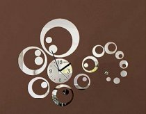 Reloj De Paredacrylic Watch Wall 23pcs Real Diy Home Decor Fashion Mirror Surface of Stickers Clock (silver)