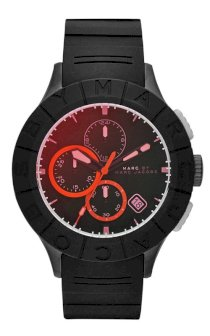 MARC JACOBS Men\'s Chronograph Buzz Track Black Silicone Strap Watch 44mm   MBM5546