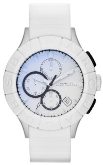 MARC JACOBS Men's Chronograph Buzz Track White Silicone Strap Watch 44mm  MBM5542