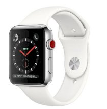 Đồng hồ thông minh Apple Watch Series 3 42mm Stainless Steel Case with Soft White Sport Band