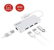 Lenovo USB C Hub with Ethernet Port, Type C Adapter with 3 USB 3.0 Ports C506-SL