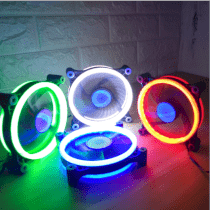 Combo 5 fan case 12cm Coolmoon aura dual ring led green