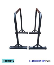 Parallettes Dip FULL BLACK - Xà kép mini Pocorrys PAD-01 (Street workout, Calisthenics, Gym)