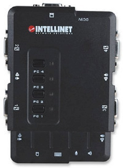 INTELLINET IN157032 4-Port Compact KVM Switch USB, with Cables and Audio Support