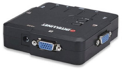 INTELLINET IN157025 2-Port Compact KVM Switch USB, with Cables and Audio Support