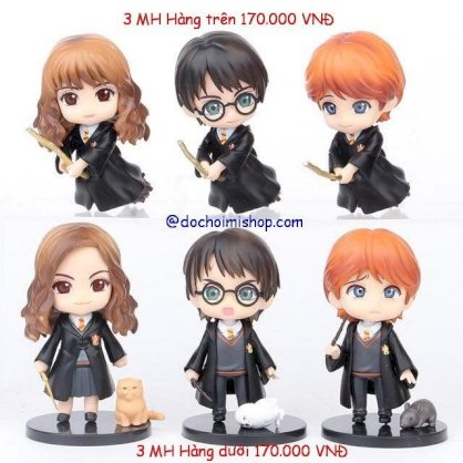 Set 6 Mô hình Harry Potter Ron Hermione Q 15cm